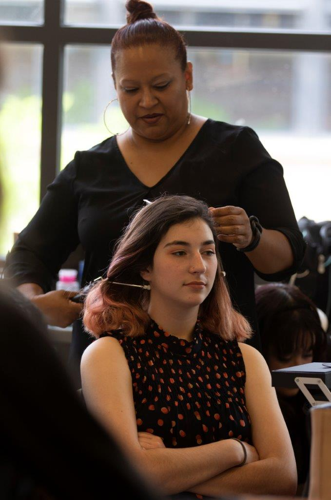 Paul Mitchell stylist  with Courtney Hayes, model from  Boys and Girls Club Jeffco