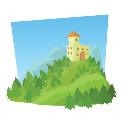 An colorful graphic of a castle on a hill