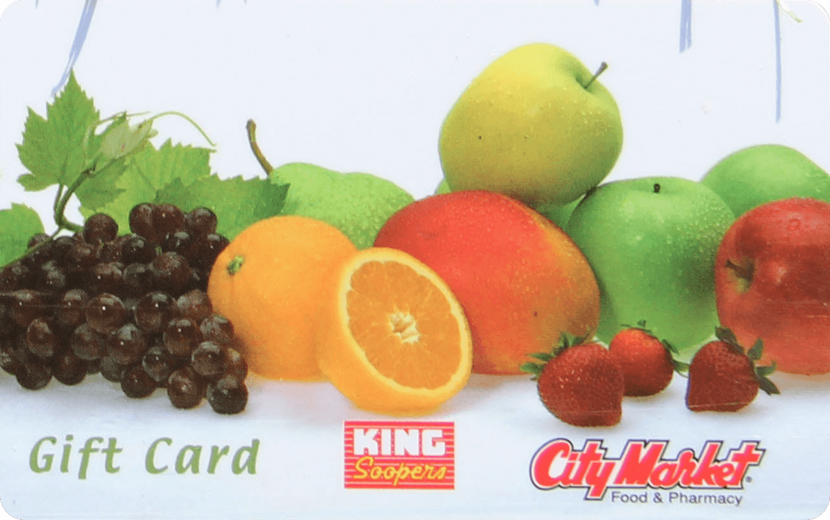 A King Soopers Gift Card, with a colorful medely of Fruits on the Front