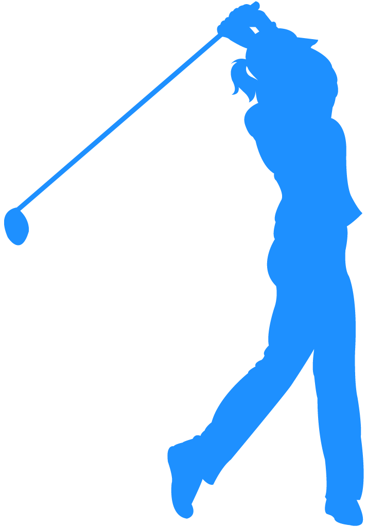 A golfer swings for the green.